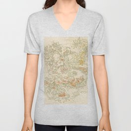 "Alphonse Mucha ""Anemones, Apple Blossoms and Narcissis"" Unisex V-Neck"