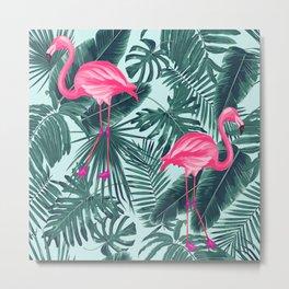 tropical pink flamingo Metal Print