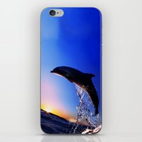 dolphin iPhone & iPod Skins featuring DOLPHIN by Ylenia Pizzetti