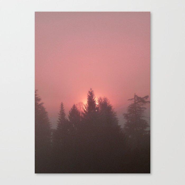 Sunrise on a foggy morning Canvas Print