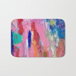 Lucky #13, a contemporary abstract in pinks and fuchsias Bath Mat