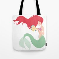 ariel Tote Bags featuring Ariel by punziella