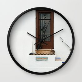 Two cats on White Stairs Wall Clock