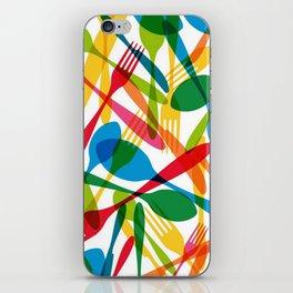 Colorful dishware elements seamless pattern illustration iPhone Skin