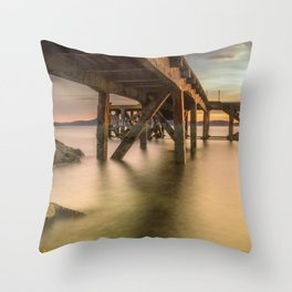 Down Below the Jetty Throw Pillow