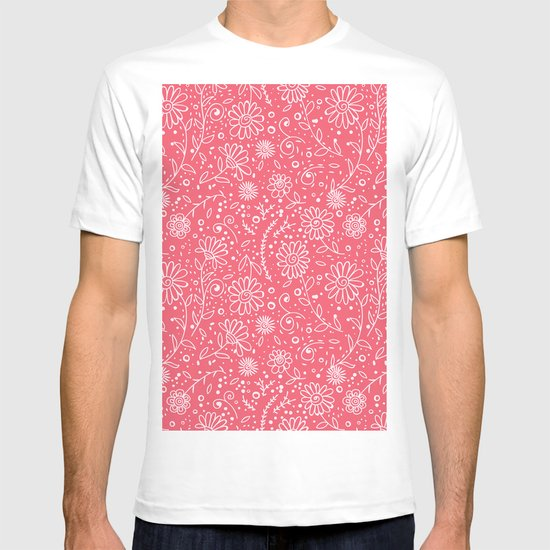 Red doodle floral pattern T-shirt