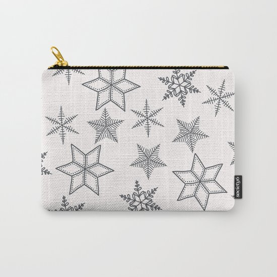 Grey Snowflakes On White Background Carry-All Pouch