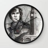 sherlock Wall Clocks featuring Sherlock  by RileyStark