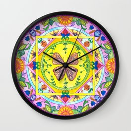 Butterfly Mandala Wall Clock