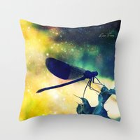 dragonfly Throw Pillows featuring Dragonfly by Luiza Lazar