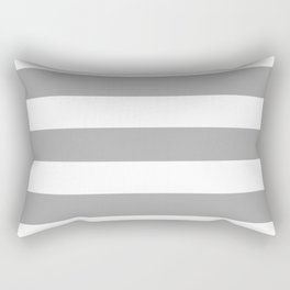 Dark medium gray - solid color - white stripes pattern Rectangular Pillow