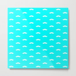 White Mustache pattern on aqua blue background Metal Print