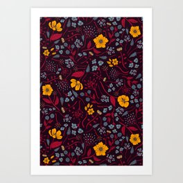Mustard Yellow, Burgundy & Blue Floral Pattern Art Print