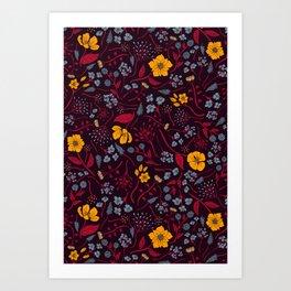 Mustard Yellow, Burgundy & Blue Floral Pattern Art Print