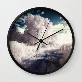 Winter Ice Storm with frozen trees and blue sky Wall Clock