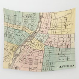 Vintage Map of Aurora IL (1876) Wall Tapestry