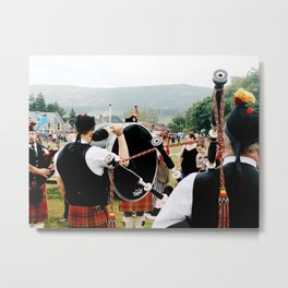 Bag piper band in highland gathering games in Scotland Metal Print