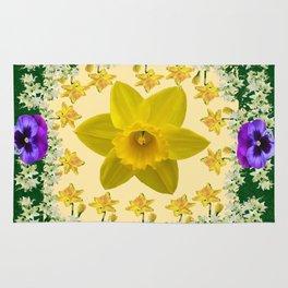 GREEN SPRING PANSIES DAFFODILS FLOWERS GARDEN MODERN ART Rug
