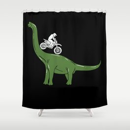 Motorcycle Cyclist On A Dinosaur Motorbike Dino Shower Curtain