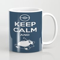 snorlax Mugs featuring Keep Calm and Snorlax by Donutwrangler