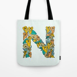 Floral Type - Letter N - Neutral Blue Green and Orange Tote Bag