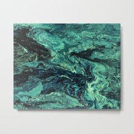 Storm at Sea Teal Metal Print