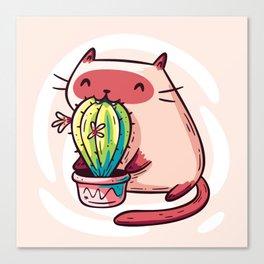 Cat Eating Cactus Canvas Print