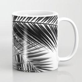 Tropical Palm Leaves - Black and White Nature Photography Coffee Mug
