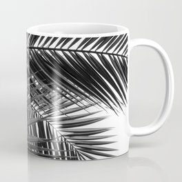 Tropical Palm Leaves - Black and White Nature Photography Coffee Mug