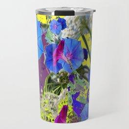 Decorative Puce  Color Blue Morning Glories  Art Design Travel Mug