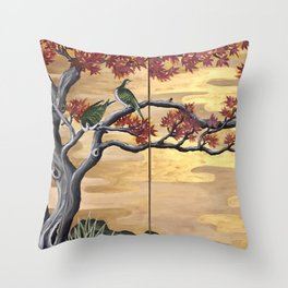 Japanese Fall Leaves Throw Pillow