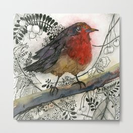 Just Be: Robin Red-Breast Metal Print