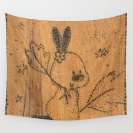 Cute little animal on wood Wall Tapestry