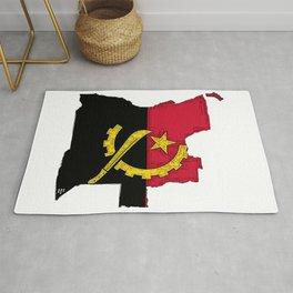 Angola Map with Angolan Flag Rug