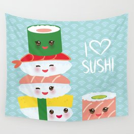 I love sushi. Kawaii funny sushi set with pink cheeks and big eyes, emoji. Blue japanese pattern Wall Tapestry