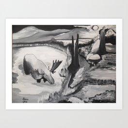 Full Moon Timber Wolf Ambush,Anishnabe Art Print