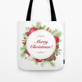 Wreath with christmas decoration Tote Bag