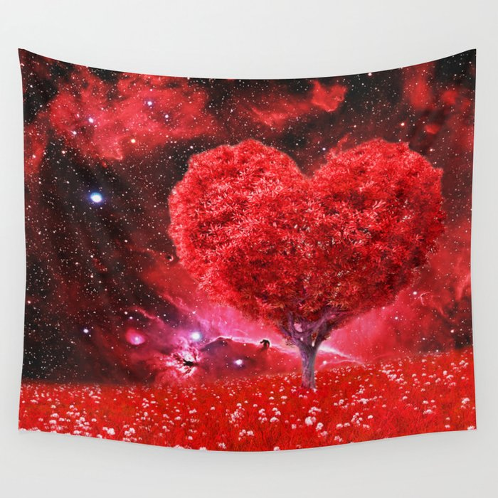 Cosmic love tree Wall Tapestry