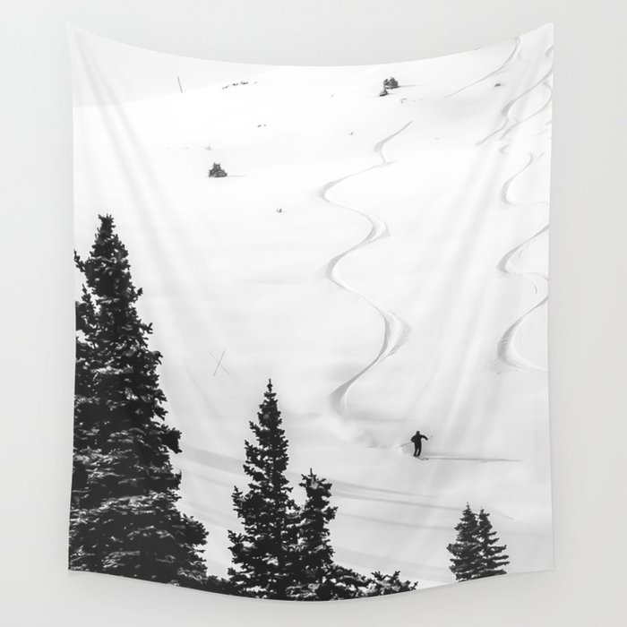 Backcountry Skier // Fresh Powder Snow Mountain Ski Landscape Black and White Photography Vibes Wall Tapestry