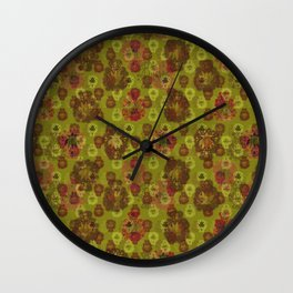 Lotus flower - curry green woodblock print style pattern Wall Clock