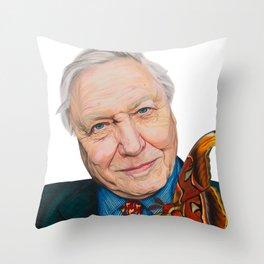 SIR DAVID ATTENBOROUGH 2015 71cm x 49cm Prismacolor & Mixed Media Throw Pillow