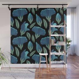 Mermaid blue floral Wall Mural