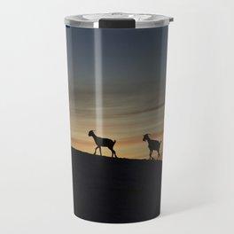 Africa sunset with goats Travel Mug