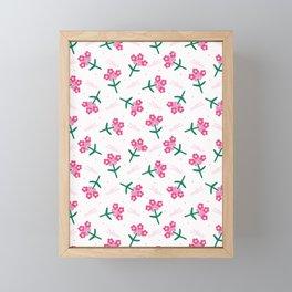 Bright summer flower bloom seamless pattern. Framed Mini Art Print