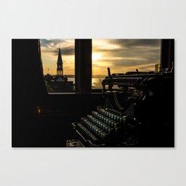 The Sunrise, Steeple & Typewriter Canvas Print