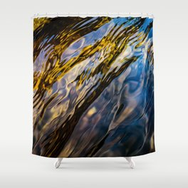 River Ripples in Copper Gold Blue and Brown Shower Curtain