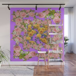 PINK & YELLOW SPRING ROSE GARDEN LILAC PURPLE VIGNETTE Wall Mural