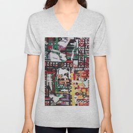 Conjoined Contrast, colorful circles and squares in abstract. Unisex V-Neck