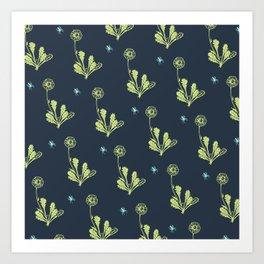 Spider Daisies (green + navy) Art Print