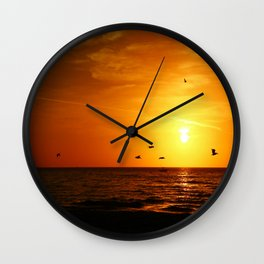 Pelican Sunset Wall Clock